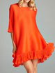 Frill Sleeve Polyester A-line Casual Mini Dress