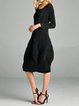 Black Pleated Crew Neck H-line Casual Midi Dress