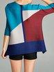 Blue H-line Geometric 3/4 Sleeve Polyester Tunic