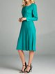 Green Crew Neck Casual A-line Polyester Midi Dress