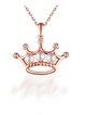 Rose Golden-Color Color Pearl Crown Silver-Color Necklace