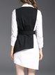 Black-white Elegant Asymmetric Asymmetrical Cotton Dress With Coat