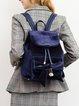 Dark Blue Fold-over Flat Top Casual PU Backpack