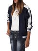 Blue Casual Pockets Contrast Stripe Bomber Jacket
