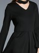 Black Long Sleeve Choker Neck A-line Midi Dress