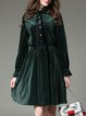Dark Green Velvet A-line Ruffled Bell Sleeve Midi Dress