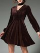 Coffee Velvet V Neck Casual A-line Dress