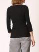 Solid 3/4 Sleeve Casual Ribbed Knitted Sweater