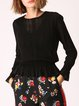 Wool-blended Casual Bell Sleeve Crew Neck Solid Knitted Sweater