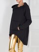 Black Pockets High Low Long Sleeve Casual Hoodie