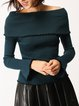 Casual Bell Sleeve Sheath Ribbed Knitted Sweater