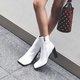 Square Toe White Winter Zipper Boots