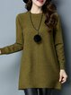 Casual Knitted Long Sleeve H-line Sweater Dress