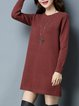 Solid Crew Neck Long Sleeve Casual Knitted Sweater Dress