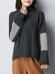 Deep Gray Turtleneck Casual Knitted Sweater