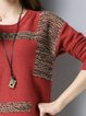 Plus Size Intarsia H-line Casual Long Sleeve Knitted Sweater