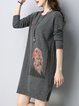 Long Sleeve Knitted Animal Casual Sweater Dress