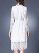 Stand Collar Lace Long Sleeve Casual Midi Dress