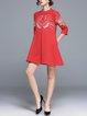 Stand Collar Animal Half Sleeve Casual Guipure Lace Mini Dress