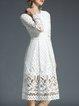 A-line Plain Casual Lace Long Sleeve Midi Dress