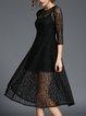 Guipure Lace Half Sleeve Lace Casual Midi Dress