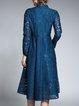 Casual Long Sleeve Guipure Lace Midi Dress