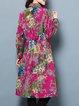 Fuchsia Long Sleeve Cotton Shirt Collar Midi Dress