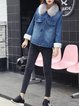 Blue Casual Washed Fur And Shearling Coat