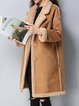 Khaki Paneled Long Sleeve Fur And Shearling Coat
