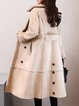 Beige Buttoned Lapel Long Sleeve Solid Fur And Shearling Coat
