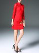 Red Floral-embroidered 3/4 Sleeve Vintage Stand Collar Mini Dress