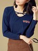 Royal Blue Cotton Embroidered H-line Long Sleeve Top