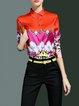 Orange Long Sleeve Abstract H-line Shirt Collar Blouse