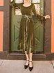 Swing Velvet Shimmer Long Sleeve Casual Midi Dress