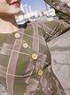 Long Sleeve Casual Chiffon Checkered/Plaid Midi Dress
