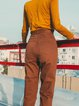 Cotton Solid Casual Straight Leg Pants