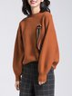 Caramel Knitted Paneled Casual Sweater