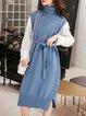 Plus Size Slit Casual Sleeveless Sweater Dress