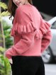 Crew Neck Casual Ruffled Long Sleeve Solid Sweater