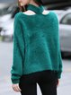 Plus Size Casual Cold Shoulder Choker Neck Angora-blend Sweater