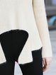 Plus Size Bell Sleeve Casual Angora-blend Solid Stand Collar Sweater
