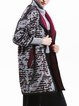 Plus Size Gray Shawl Collar Buttoned Wool Blend 3/4 Sleeve Coat