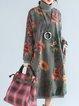 Floral Casual Long Sleeve Linen Dress