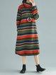 Stripes Turtleneck Shift Casual Long Sleeve Dress