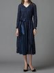Navy Blue Plain A-line Elegant Midi Dress