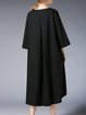 Plus Size Buttoned Crew Neck Casual 3/4 Sleeve Solid Midi Dress