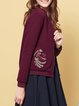Burgundy Embroidered Casual Cropped Jacket