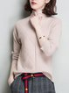 Casual Knitted Solid Turtleneck Long Sleeve Sweater