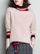 Apricot Knitted Turtleneck Intarsia Casual Sweater
