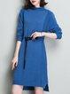 Plain Turtleneck Slit Casual Long Sleeve Sweater Dress